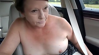 Exhibitionist MILFs Topless Car Dare