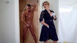 Nerdy Blonde Mature MILF Cory Chase Gets Cum In Mouth At An Office