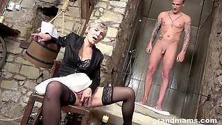 Mature Short Haired Granny Sexy Suzy Sucks A Younger Guy And Gets Cum