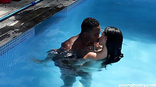 Petite Brunette Babe In Shorts Gina Ferocious Fucked By Her Pool Boy