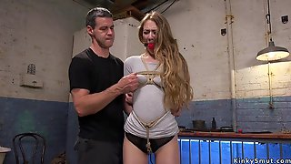 Babe With Huge Ball Gag Copulated Bdsm