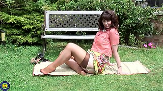 Mature Brunette Toni Lace Masturbates Outdoors In High Heels