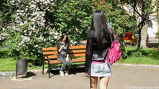 Lesbian Teens In Miniskirts Veronica Snezna And Lucy Play With Toys
