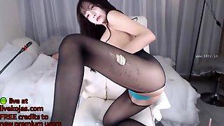 Asian Sweet Teen Bates In Black Pantyhose