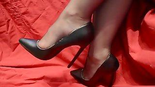 Mature Nylon Feet High Heels Shoes