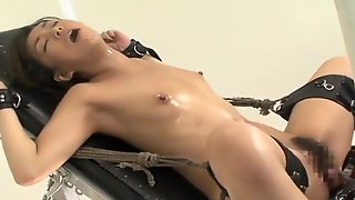 Asian Girl Gets Suspended And Simulated While In Shibari Ropes