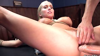Big Knockers Blond Hair Lady Agent Assfucking Had Intercourse In Bondage