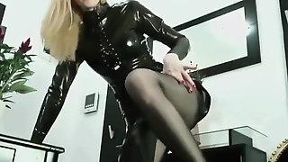 Hot Blonde In Latex Dress.