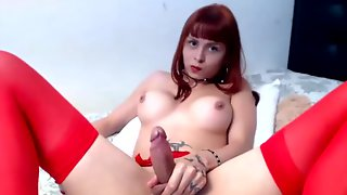 Redhead Shemale Masturbates Big Cock Online