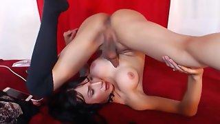 Flexible Brunette Transgirl Self Sucking In Her Mouth