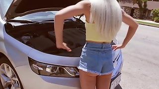 FILF - Petite Elsa Jeans Car Problems Turn Into BBC Hook Up