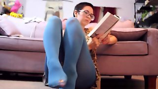Shaved Head Babe Ignoring You In My Blue Nylons While I Read