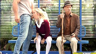 Blonde Teen Riley Star Gets Banged On The Bus Stop