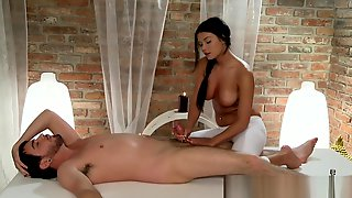 Massage Rooms Black Haired Beauty Has Her Young Breasts Covered In Cum
