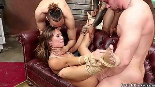 Brunette Brutally Dp Banged In Bondage