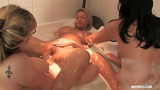Bathtub Orgy With Mature Busty Babes Taking A Bath Together