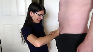 Sexy Wife In Turtleneck And Glasses Sucking Cock And Taking Massive Facial