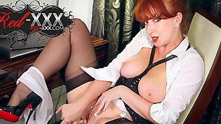 Beautiful Redhead Milf Red XXX Plays With Her Dildo