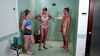 Two Seductive Chicks Give A Nuru Massage And Fuck One Horny Client