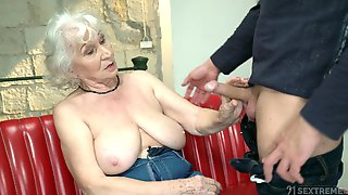 Mature Granny With Saggy Tits Norma Sprayed With A Huge Cumshot