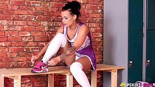 Just Jerk A Bit While Short Skirt Of Sporty Cheerleader Kelli Smith Is Pulled Up