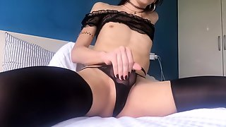 Horny Little Slut Spitting On Hard Uncut Cock And Fingering Tight Asshole