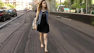 Cute Girl Walking Barefeet