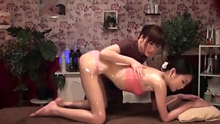 Sweet Japanese Babes Enjoy Lesbian Sex On The Massage Bed