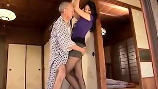 Slender Asian Wife Surrenders Her Pussy To A Horny Old Man