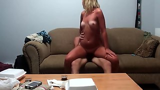 Sexy Tan Lined Bubble Butt Blonde Sucking And Riding A Big Hard Cock