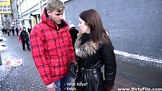 Two Kinky Dudes Trick Nice Chick Lizaveta Kay And Fucks Her Wet Pussy