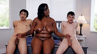 Chubby Buxom Ebony MILF Layton Benton Takes Two Big White Dicks