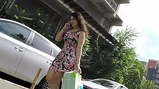 Gorgeous Young Brunette With A Perfect Ass Upskirt Outside