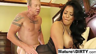 Busty Brunette MILF Teases Her Husband With Voluptuous Lingerie