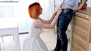 Nerdy Long Haired Dude Is Treated With A Good Blowjob By Four Eyed Gal