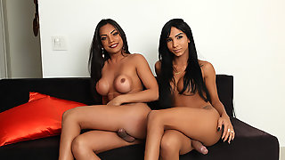 Tgirls Yasmin And Jane Goes Ass Slamming On The Bed