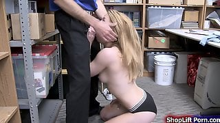Teen Blonde Shoplifter Sucks And Pussy Rammed By LP Officer