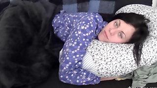 Sleepy Girlfriend In Pajamas Playing With Nipples