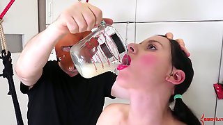 Masked Dude Makes Submissive Tied Up Audrey Holiday Drink Collected Cum