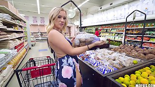 Sexy Blonde Is Naked At The Supermarket