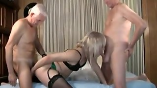 Crossdresser Gets Fucked By 2 Old Guys
