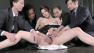 Widow Sayuri Shiraishi On The Floor Getting Her Slit Teased By Multiple Men