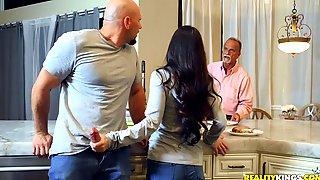 Naughty Brunette Wife Cheats With Baldhead Dude Having Huge Dick