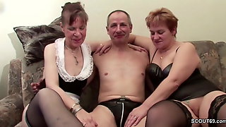 Two German Grannies In Porn Movies Casting With Stranger Old Man