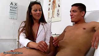 Nurse Ella Jerking Off Her Next Teenie P - Medical Handjob