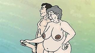 Fantasy Lustful Granny On The Beach! Porn Cartoon