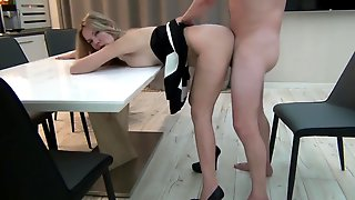 Blonde Being Fucked On The Kitchen Table And Got Cumload On Her Nice Ass