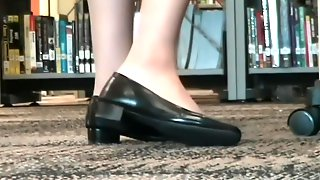 Pantyhose Feet Play Shoes In Library