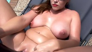 Oiled And Gaped With HUGE Toys Outside