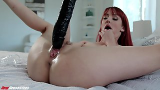Redhead Hottie Andi Rye Rams A Huge Dildo In Her Tight Cunt